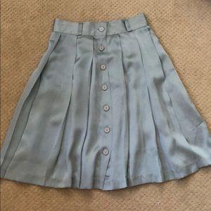 Dresses & Skirts - Vintage Sea Foam 100% Silk Pleated Skirt